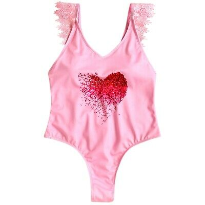 Lace Applique Plunge High Leg Valentine Swimsuit