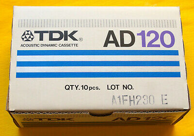 10x TDK AD 120 LONG PLAY Cassette Tape 1982 + OVP + SEALED + IN UNOPENED BOX +