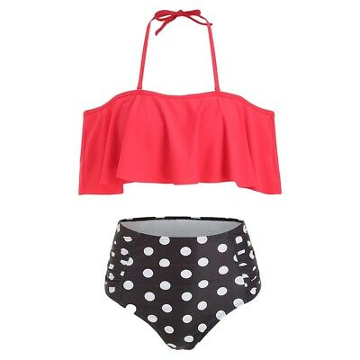 Halter Polka Dot High Waisted Bikini Set