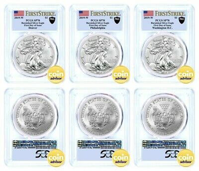 2019 W $1 Burnished Silver Eagle PCGS SP70 First Day of Issue Mint Locations Set