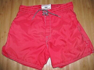 00862d2991 BIRDWELL Swimsuit BOARD SHORTS Size 29 Nylon LACE UP Trunks RED Defect +  Damage