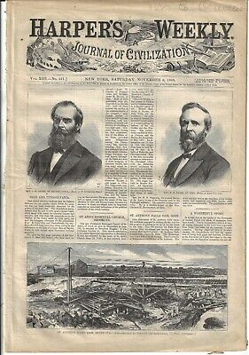 11/6/1869 Complete Harpers Hayes Elected Oh Gov Great anti-Dems Centerfold-Back