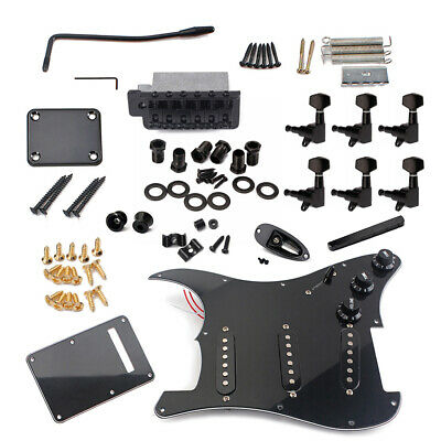 DIY Electric Guitar Kit ST Style Full Accessories Kit Black Unfinished Handcraft