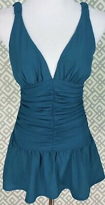 50c6e5bb90eca NWT Womens Shape Fx Blue One-Piece Swimsuit Pleated Swim Dress Ruched Size  4/
