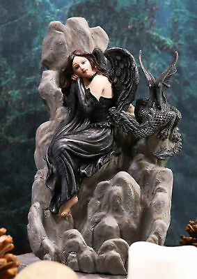 "Ebros Gothic Dark Angel with Shadow Dragon On Waterfall Figurine 7.5"" H Statue"