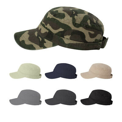 Distressed Cotton Cadet Army Cap Hat Short Bill Fidel Military Style Low Profile