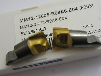 2 x MM12-12008-R08A8-E04 F30M SECO 12mm CARBIDE MINIMASTER END MILL INSERTS #53