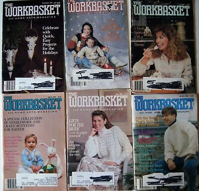 Vintage 1989  WORKBASKET MAGAZINE Crochet Knitting Recipe Sew Quilt 6 issues