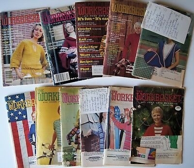 Vintage 74-79  WORKBASKET MAGAZINE Crochet Knitting Recipe Sew Quilt 12 issues