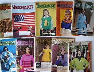 Vintage 73-74 WORKBASKET MAGAZINE Crochet Knitting Recipe Sew Quilt 10 issues
