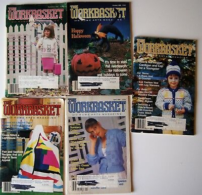 Vintage 86-88 WORKBASKET MAGAZINE Crochet Knitting Recipe Sew Quilt 5 issues