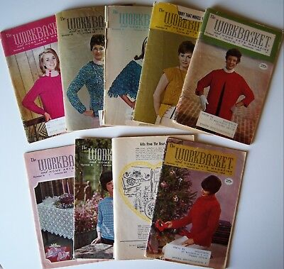 Vintage 66-69  WORKBASKET MAGAZINE Crochet Knitting Recipe Sew Quilt 9 issues