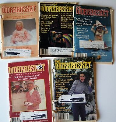 Vintage 85-86 WORKBASKET MAGAZINE Crochet Knitting Recipe Sew Quilt 5 issues
