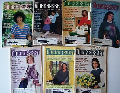 Vintage 86-87  WORKBASKET MAGAZINE Crochet Knitting Recipe Sew Quilt 7 issues