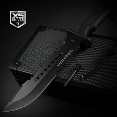 Tactical BLACK Hunting BOWIE Survival FIRE STARTER Fixed Blade Combat Knife 12""