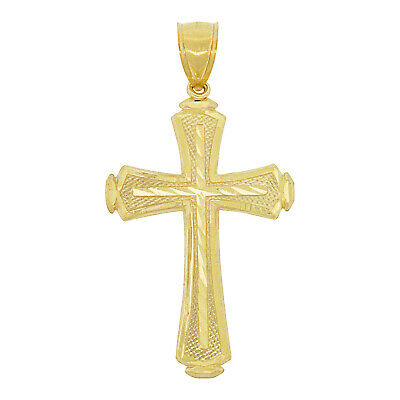 Mens Real 10k Gold Diamond-Cut Style Byzantine Cross Pendant Christian Religious