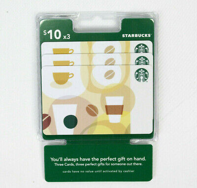 Starbucks $30 Gift Card | Multipack Lot of 3 $10 | New Sealed Cards