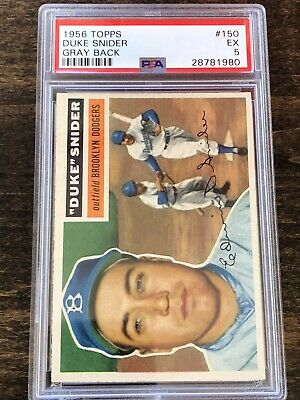 1956 Topps Duke Snider Brooklyn Dodgers #150 Baseball Card PSA 5 HOF VIntage