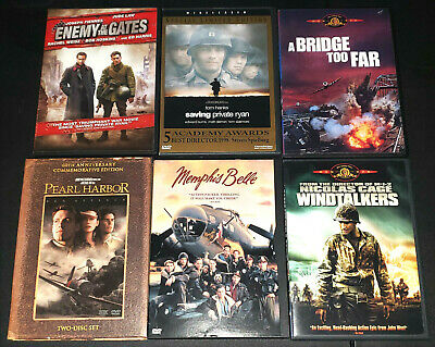 Lot of 6 World War II & WWII DVDs ~ Private Ryan ~ Memphis Belle ~ Windtalkers