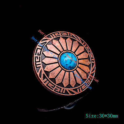 10X Antique Copper Flower Carved Turquoise Belt Conchos For Wallet Leathercraft