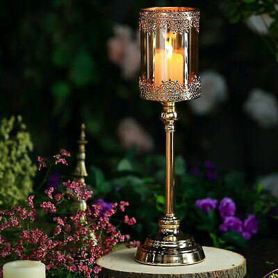 Gold Lace Design Amber Glass Hurricane Candle Holder Table Centerpiece