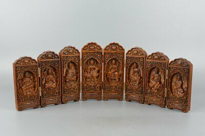 Chinese Exquisite Hand-carved Guanyin Buddha Carving Boxwood screen statue