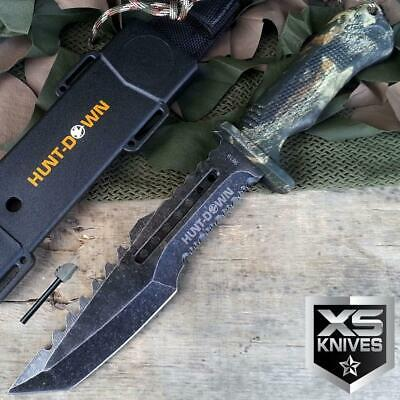 """12"""" Hunt Down Camo STONEWASHED Fixed Blade HUNTING SURVIVAL Knife + FIRE STARTER"""