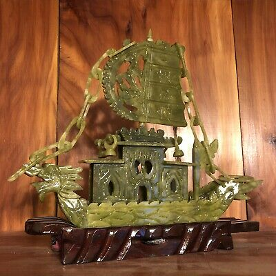Vintage Chinese Green Jade Glass Or Stone Ship On Pedestal Large Carving Asian