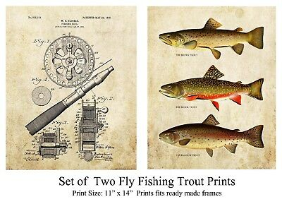 Trout Unlimited Fly Fishing Reel Vintage Patent Art Prints Save 25%  PAT441-442