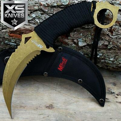 "10"" M-TECH Tactical COMBAT NECK Fixed Blade Knife SURVIVAL Karambit CLAW GOLDEN"
