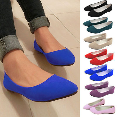 Women Ladies Casual Office Suede Flat Loafers Ballet Dolly Slip On Shoes Size AU