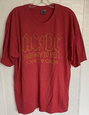 Hot Topic Mens Xl ACDC Highway to Hell Tour 79 Crew Red Graphic Band Tee