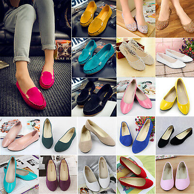 Women Ladies Casual Glitter Ballet Dolly Pumps Slip On Boat Loafers Flats Shoes