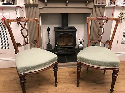 Pair of Walnut Backed 1850 Occasional Chairs