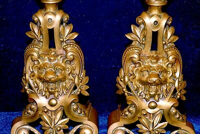 Pair of Early 1900's French Andirons Ornate Ormolu Brass/ Bronze Lions and Flame