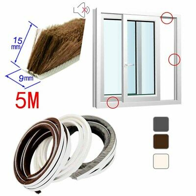 Self Adhesive Weather Strip Window Door Draught Excluder Brush Seals 5m #M2R