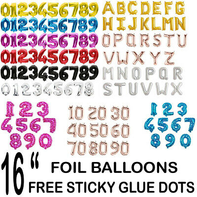 "Self Inflating 16"" INCH Foil Number & Letters BALLOONS Happy Birthday Balloons"