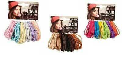 100 Pack HAIR ELASTICS - 3 Assorted Designs