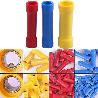 100xInsulated Terminal Butt Connectors Electrical Automotive Cables Wire Crim_vi