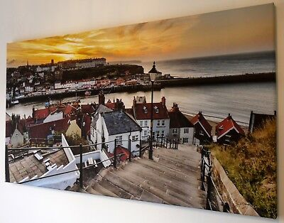 Whitby Yellow Sunset Canvas Print Wall Art  Picture  18  X 32 Inch
