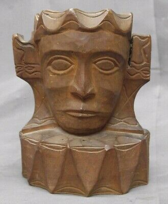 Old Vintage Hand Carved Wooden Ashtray Native Tribal Ethnic Wood Carving
