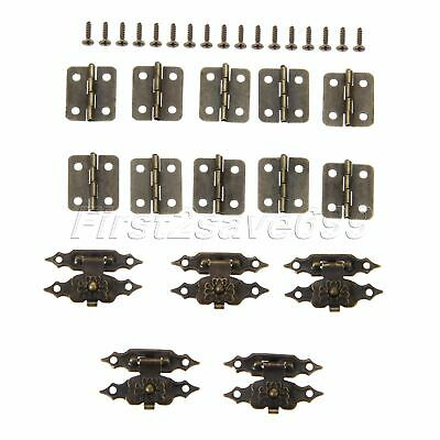 20pcs Classic Mini Cabinet Door Hinges & 10pcs Gift Jewelry Box Latch Hasp Clasp