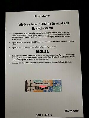 Microsoft Windows Server Standard 2012 R2 ROK HP