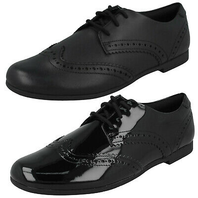 Girls Kids Clarks Scala Lace Youth Lace Up Brogue Smart Formal School Shoes Size