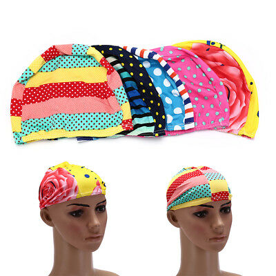 Elastic Fabric Protect Ears Long Hair Swim Pool Hat Swimming Cap For Adults n gn