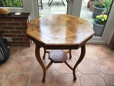 Walnut Veneer Octaginal Occasional Table