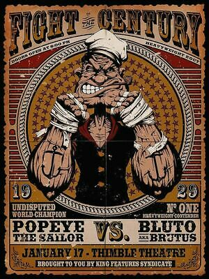 Popeye The Sailor V's Brutus Fight Navy Bumper Sticker or Fridge Magnet