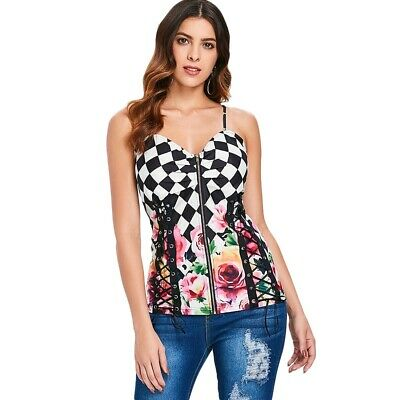 Spaghetti Strap Floral Checked Lace Up Tank Top