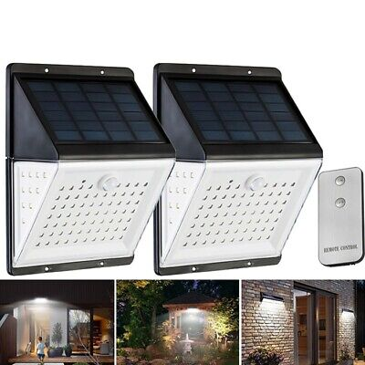 88 LED Solar Power Motion Sensor Light Voice Remote Control Outdoor Yard Wall