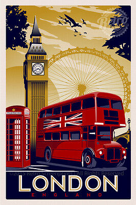 TRAVEL POSTERS - A4 - LONDON - Vintage - Retro Prints - Home - Wall Art Decor